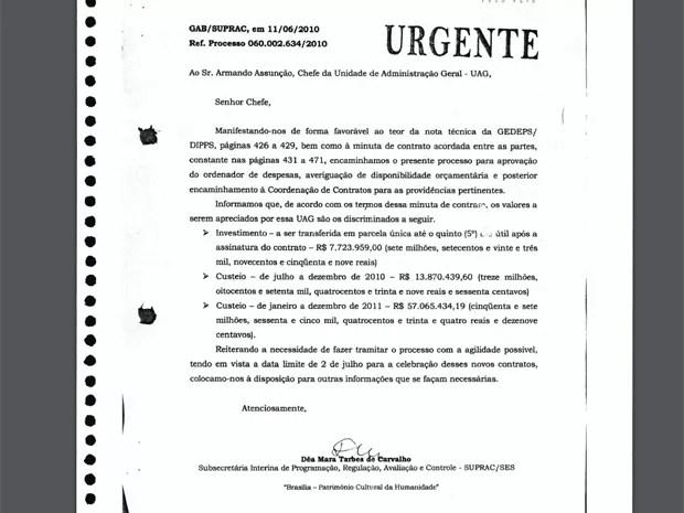 Ofício encaminhado pela servidora Dea Carvalho, que orienta a liberação de verbas para o Icipe (Foto: Reprodução)