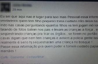 Boato tem sido compartilhado no Facebook. (Foto: Reprodução / Facebook)