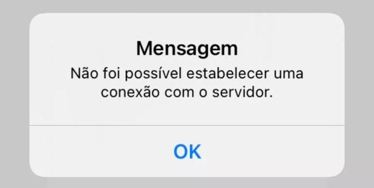 APP da Nota Fiscal Paulista apresentando problemas na conexão com o servidor — Foto: Reprodução/Redes Sociais