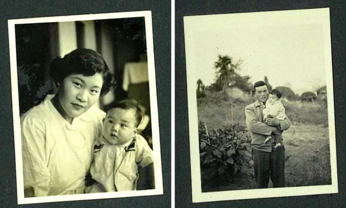 Tomoko com sua mãe, Teruko (à esquerda), e com seu pai, Tatsuyuki (à direita) — Foto: Lee Karen Stow/BBC