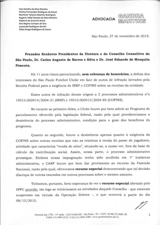 Carta Ives Gandra para Leco São Paulo 1 (Foto: Arte: GloboEsporte.com)