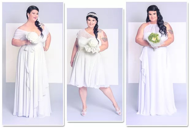 A linha Bridal by Paula Bastos foi criada pela blogueira em parceria com o estilista Arthur Caliman e é pensada para mulheres plus size (Foto: Divulgação)