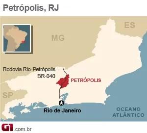 Mapa - Petrópolis - VALE ESTE (Foto: Arte/G1)