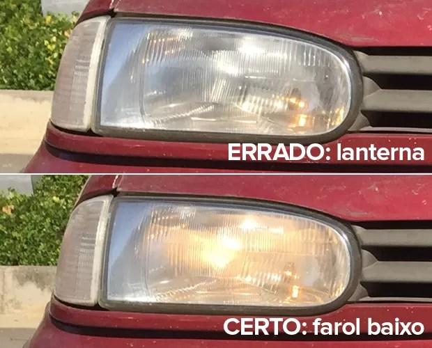 Lanterna tem a luz mais fraca é não é a correta; o certo é o farol baixo (Foto: Rafael Miotto / G1)