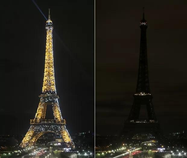 Em Paris, a torre Eiffel quase desaparece sem iluminação (Foto: Jacques Demarthon / AFP)