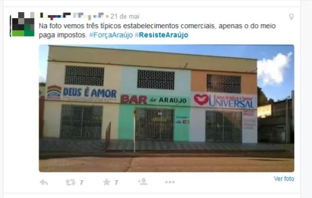 Internautas criticam imunidade de impostos concedida às igrejas (Foto: Reprodução/Twitter)