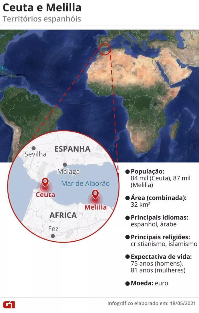 Mapa com localização de Ceuta e Melilla — Foto: Elcio Horiuchi/G1