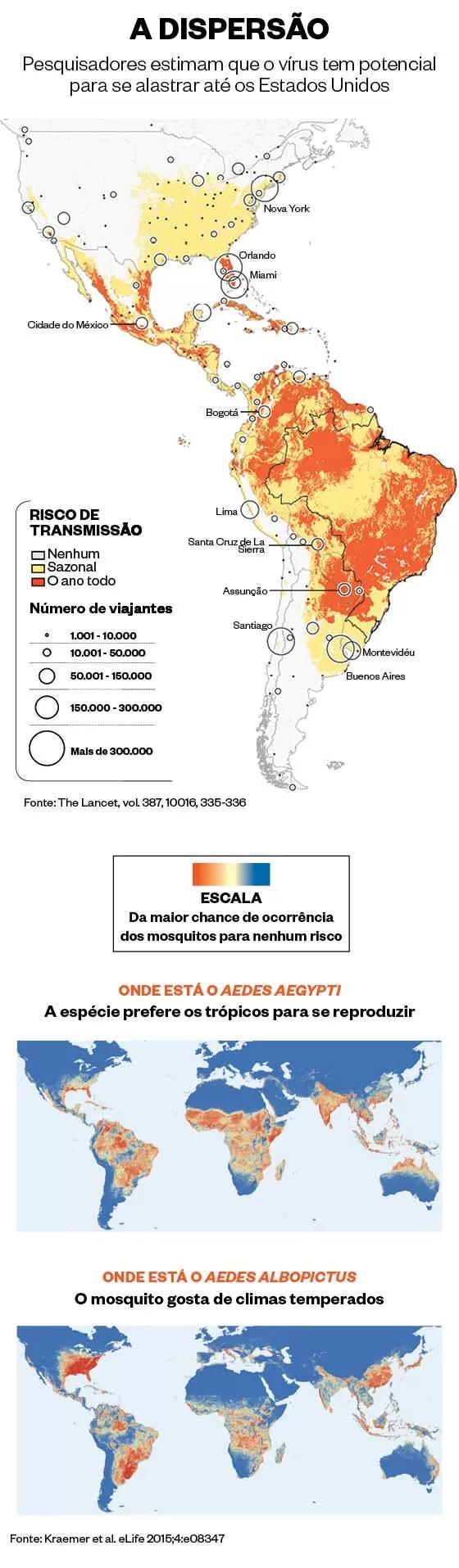 O potencial de dispersão do vírus zika (acima) e a possível ocorrência no mundo de espécies de mosquito transmissoras da doença (Foto: ÉPOCA)