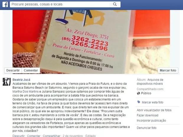 Jornalista havia denunciado barraca de praia por meio de rede social (Foto: Facebook/Reprodução)