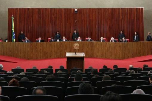 Vista do plenário do Tribunal Superior Eleitoral (TSE), em Brasília, durante o julgamento da chapa Dilma-Temer (Foto: Daniel Teixeira/Estadão Conteúdo)