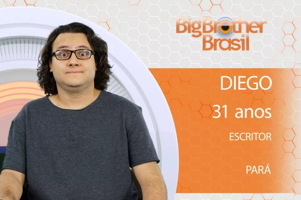 O escritor Diego é participante do 'BBB18' (Foto: Divulgação)