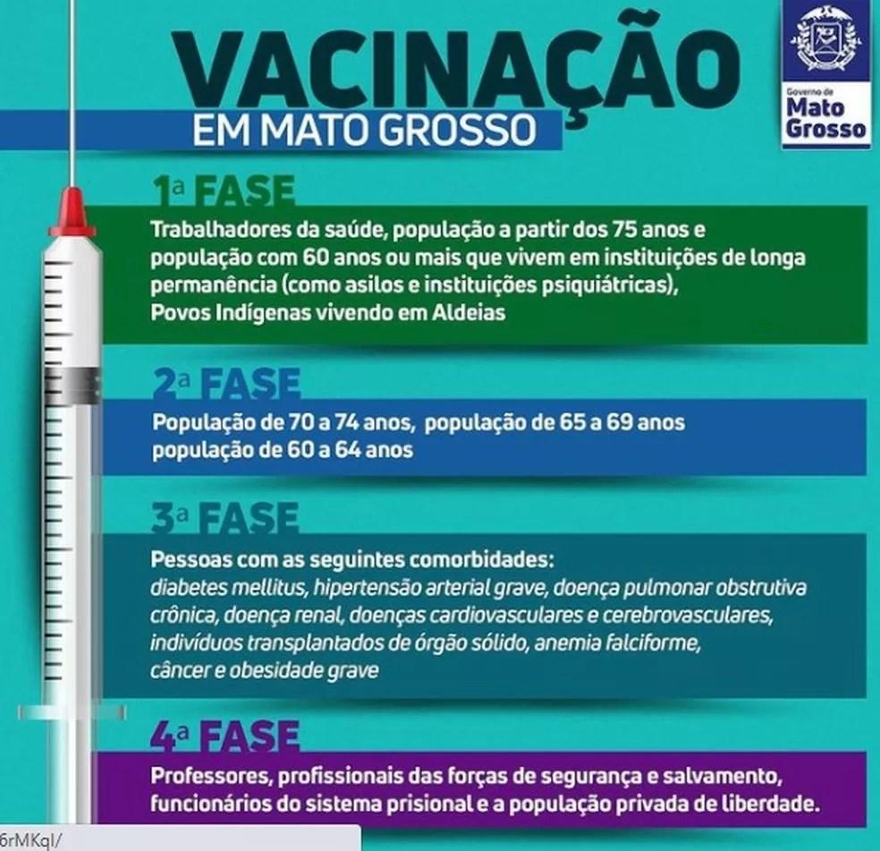 Fases da vacinação contra Covid-19 em Mato Grosso — Foto: Secom-MT