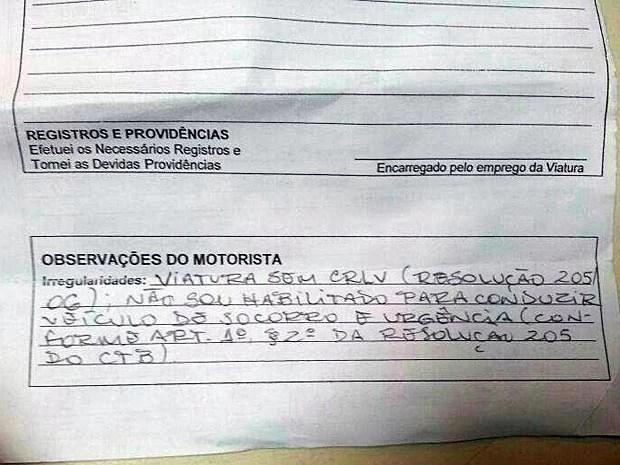 Trecho de um documento apresentado por PMs ao comando do batalhão do Guará justificando a decisão de não dirigir viaturas (Foto: G1 / Reprodução)
