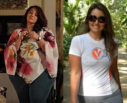 Renata Celidônio em 'Aquele beijo' e atualmente: 60kg a menos (Foto: Arquivo pessoal)