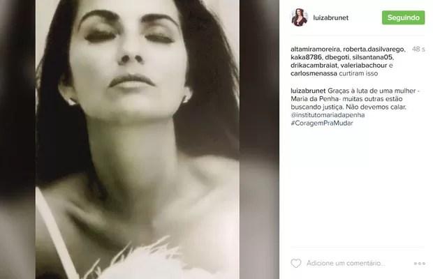 Luiza Brunet faz post falando da Lei Maria da Penha: 'Não devemos calar'