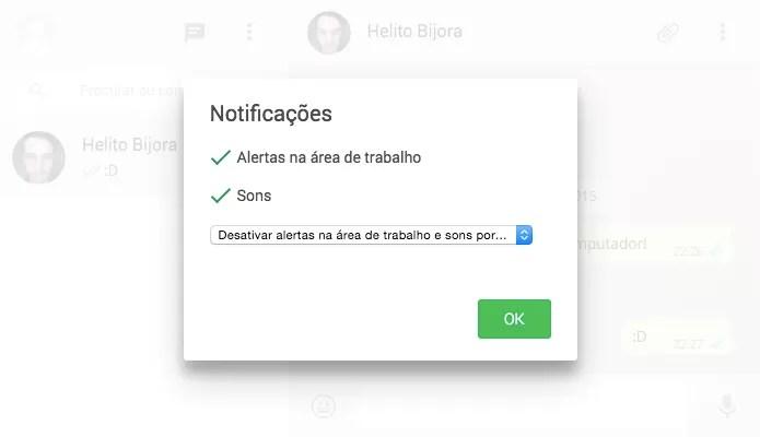Configurando notificações do WhatsApp no computador (Foto: Reprodução/Helito Bijora)