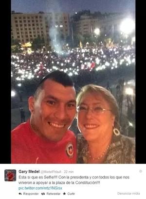 Medel e Michelle Bachelet (Foto: Reprodução Twitter)