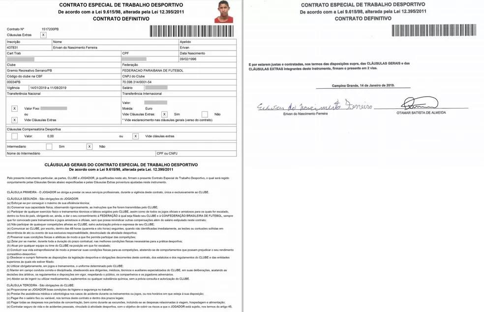Otamar assina contrato do jogador Erivan do Nascimento Ferreira — Foto: Reprodução