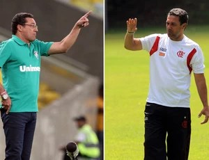 montagem Luxemburgo Fluminense e Flamengo (Foto: Editoria de Arte)