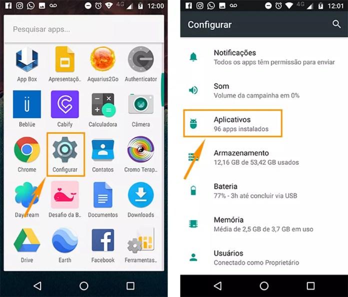 Abra as configurações de aplicativos no Android (Foto: Foto: Reprodução/Barbara Mannara)