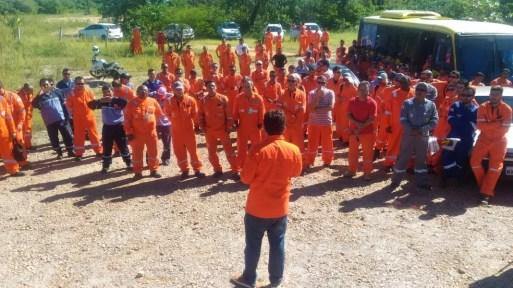 Assembleia de petroleiros em Mossoró, RN, durante greve de 72 horas, nesta quarta-feira (30).  (Foto: Sindipetro-RN/Divulgação)