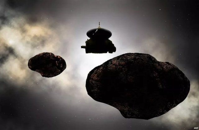 Artista ilustra encontro entre a New Horizons e o 2014 MU69 (Foto: Nasa/Carlos Hernandez)