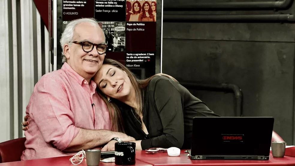 Artur Xexéo e Maria Beltrão, apresentadora do Estúdio I, da GloboNews — Foto: Reprodução