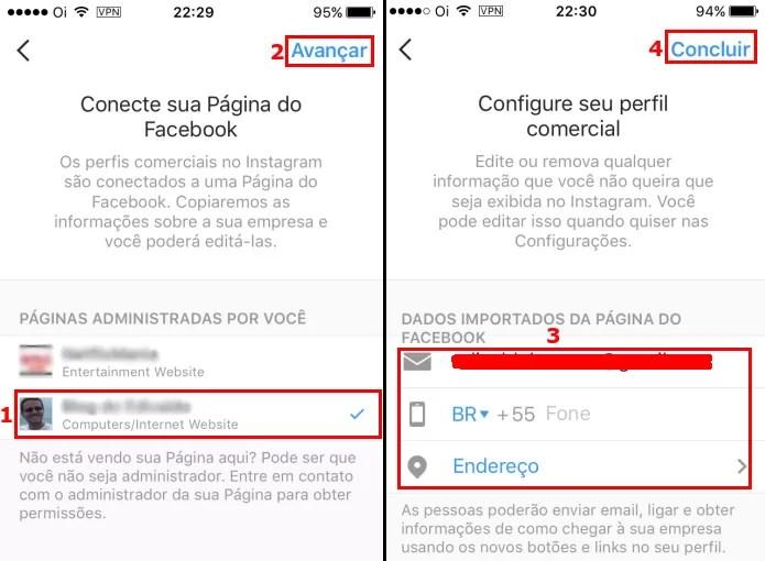 Conectando a conta Instagram a uma página do Facebook (Foto: Reprodução/Edivaldo Brito)