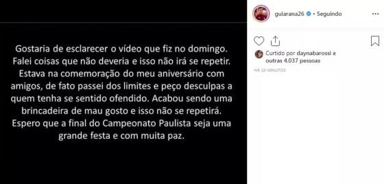 Guilherme Arana pede desculpas após polêmica — Foto: Reprodução