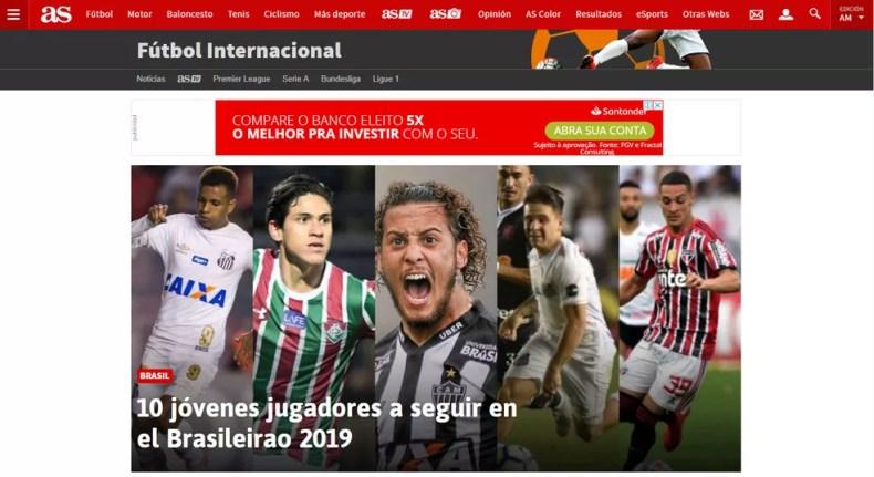 Jornal destaca jovens de destaque do Campeonato Brasileiro — Foto: Reprodução