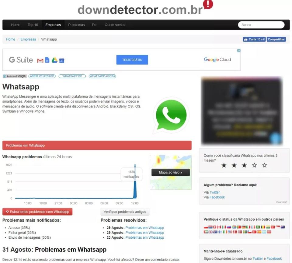 Usuários relatam instabilidade no WhatsApp (Foto: Reprodução/Aline Batista)