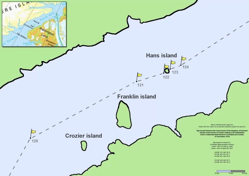 A Ilha Hans fica bem no meio do Canal Kennedy, parte do Estreito de Nares que separa a Ilha Ellesmere (Canadá) da Groenlândia (Dinamarca). A fronteira marítima entre os dois países passa bem no meio da ilhota (FOTO: WIKIMEDIA COMMONS)