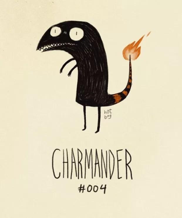 Alguns chegaram a dizer que o tatuador tentou reproduzir a versão de Charmender feita por Tim Burton (Foto: Reprodução/Imgur)