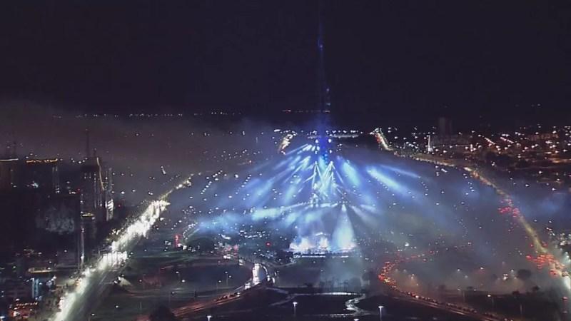Iluminação de Natal na Torre de TV de Brasília — Foto: TV Globo/Reprodução