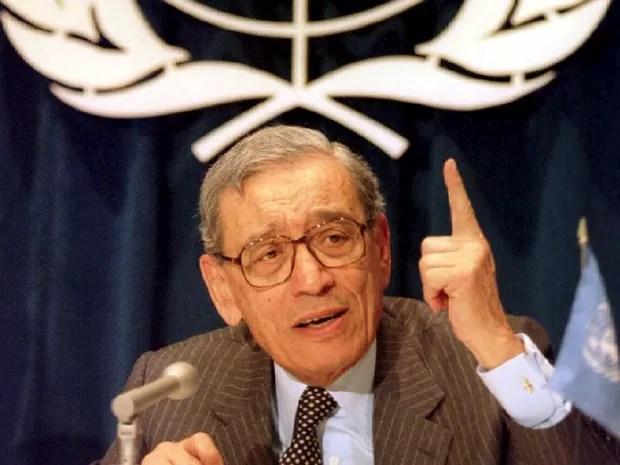 O egípcio Boutros Boutros-Ghali foi secretário-geral da ONU entre 1992 e 1996 (Foto: REUTERS/Mike Segar/Files)