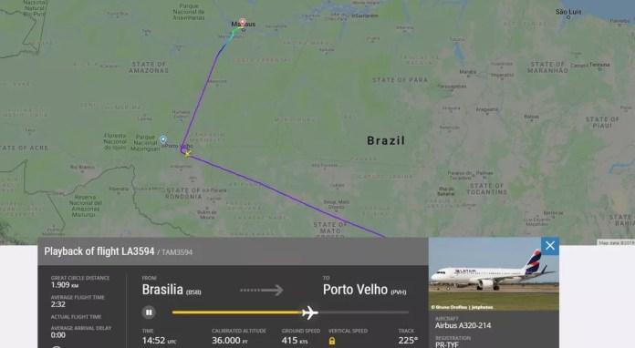 Voo da Latam é desviado de Porto Velho para Manaus por causa da fumaça — Foto: Reprodução