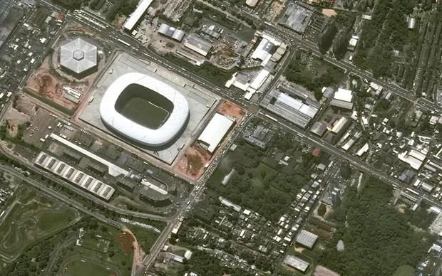 Arena Amazônia, em foto divulgada em 28 de maio de 2014 (Foto: Distribution Astrium Services/Spot Image S.A/AFP)