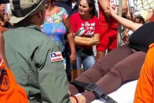 Gestante em trabalho de parto foi transferida de helicóptero — Foto: Divulgação/SSP-BA