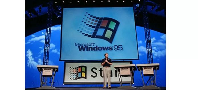 Lançamento do Windows 95 apresentado por Bill Gates em evento (Foto: Divulgação/Microsoft)