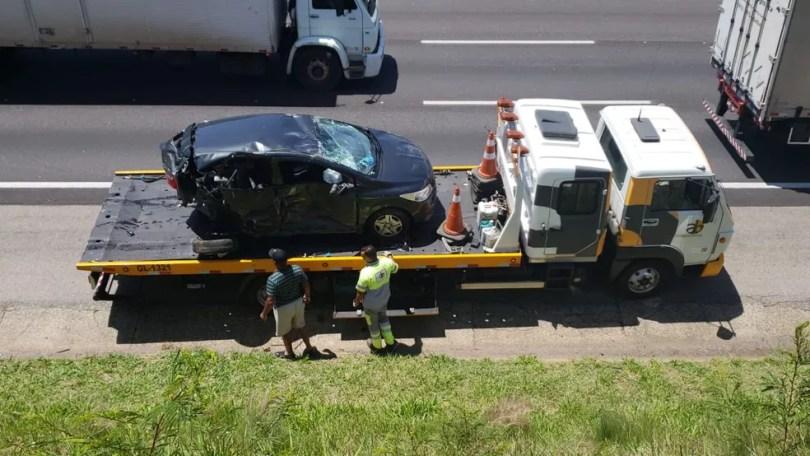 Carros envolvido no engavetamento na Rodovia Santos Dumont, em Campinas (SP) — Foto: Felipe Boldrini/EPTV