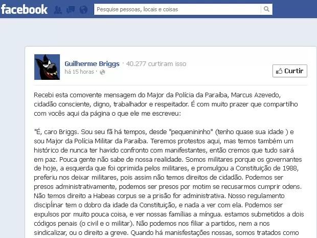 Depoimento do major paraibano foi publicado na página oficial de Guilherme Briggs (Foto: Reprodução/Facebook)