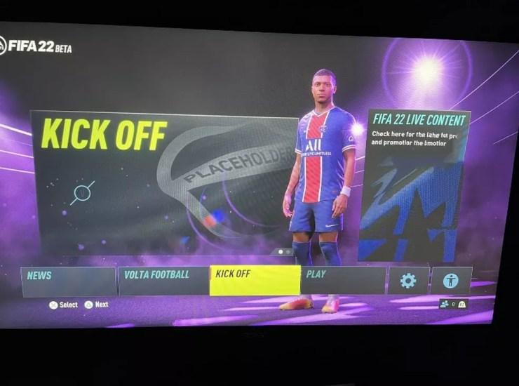 Menu no beta fechado do FIFA 22 teve Mbappé como principal destaque — Foto: Reprodução/Twitter
