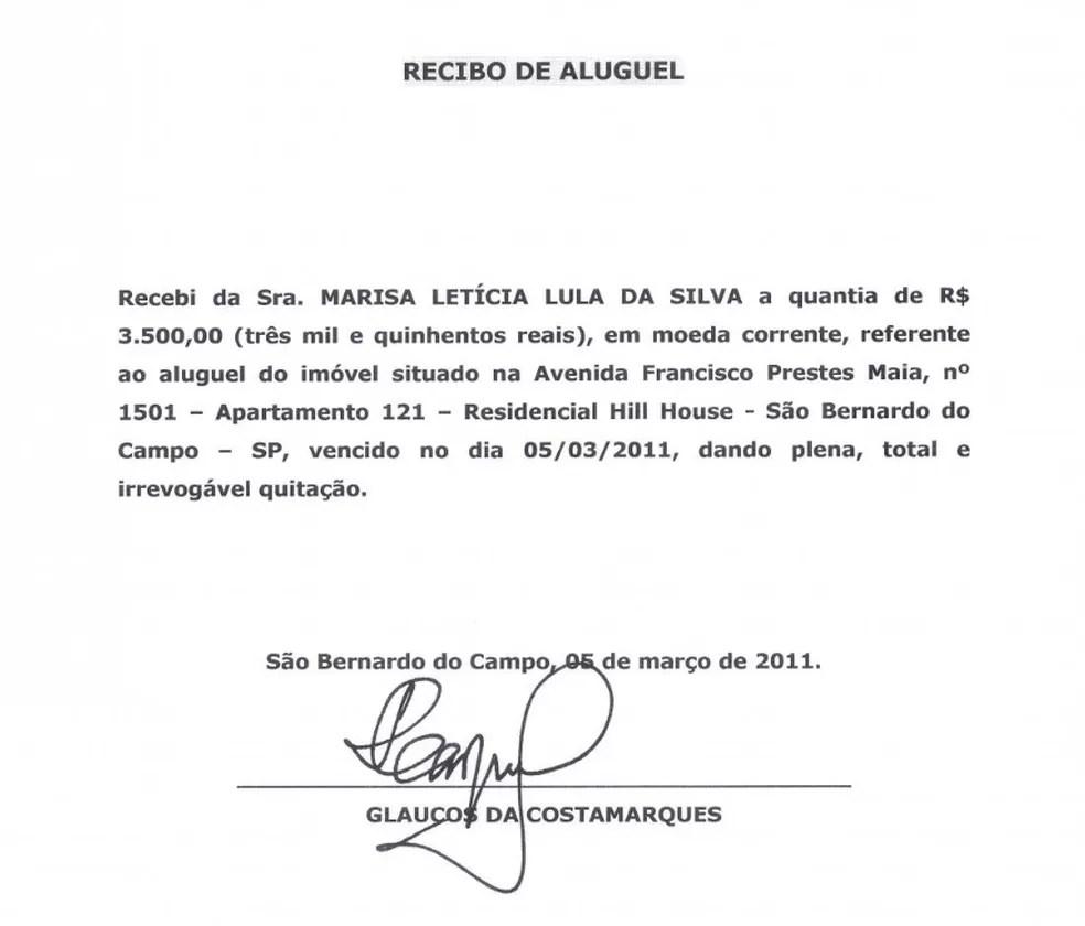 Um dos novos recibos apresentados nesta quarta-feira faz referência a aluguel de março de 2011 (Foto: Reprodução)