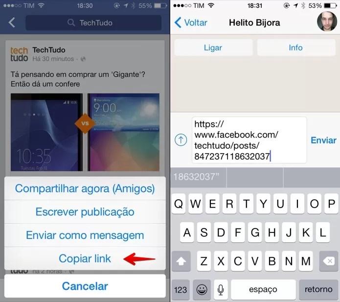 Copiando link da publicação para a área de transferência do iOS (Foto: Reprodução/Helito Bijora)
