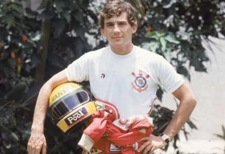 Ayrton Senna era torcedor do Corinthians — Foto: Reprodução/Twitter