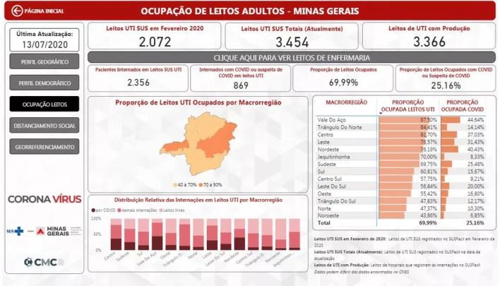 Ocupação de leitos em Minas Gerais, nesta segunda-feira (13) — Foto: Reprodução/SES-MG