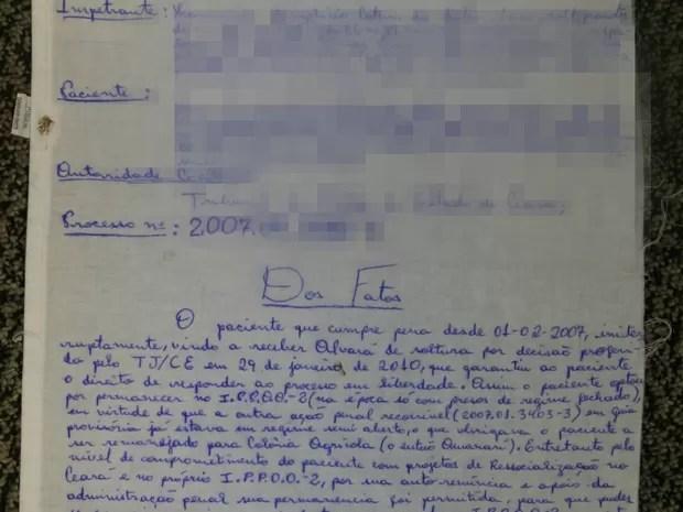 Habeas corpus escrito em lençol (Foto: OAB-CE/Divulgação)