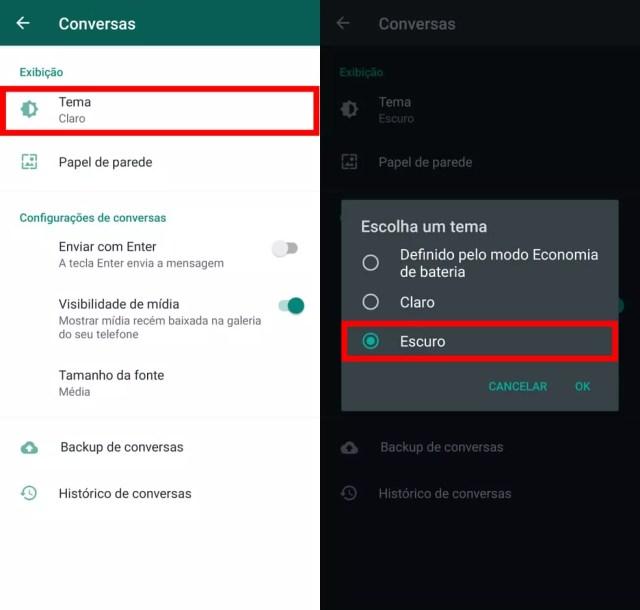 """Toque sobre """"Tema"""" e marque a opção """"Escuro"""" para deixar o WhatsApp noturno — Foto: Reprodução/TechTudo"""