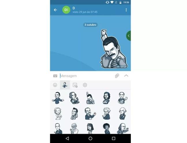 ZapZap tem stickers para deixar conversas mais divertidas — Foto: Reprodução/Rodrigo Fernandes