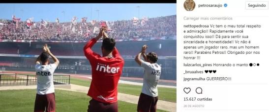 Comentários no instagram de Petros exaltam o jogador (Foto: Reprodução)